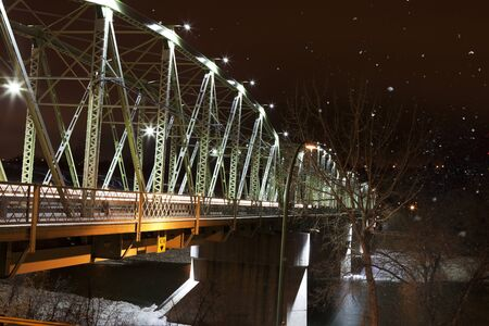 alberta: The Finley Bridge on a snowy winter