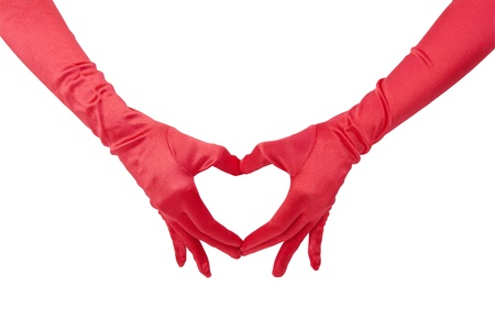 Red gloved hands form a heart shape to make a love sign   Isolated with clipping Path