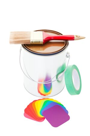 A paint can with a brush on top and painter Stock Photo - 17550852