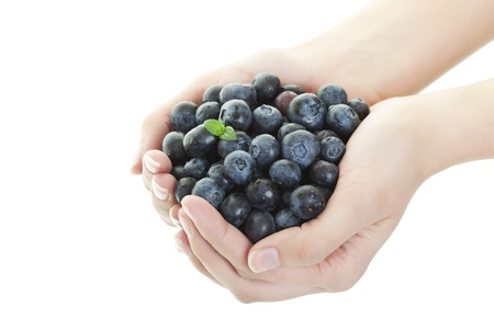 handful: A double handful of freshly picked blueberries   Shot on white background  Stock Photo