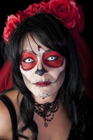 Día de los Muertos retrato del cráneo del azúcar Foto de archivo