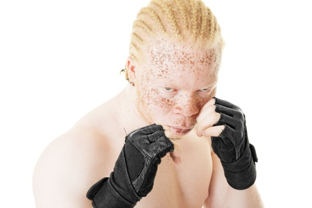 albino: Portrait of an albino African-American boxer on white background