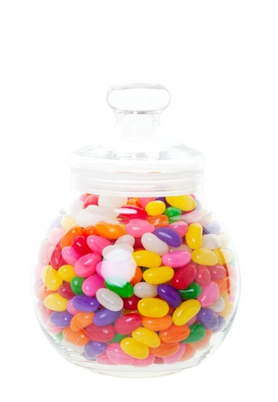 A candy jar full of jelly beans   Shot on white background  photo