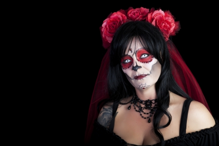 sugar veil: Day of The Dead  Sugar Skull portrait Stock Photo