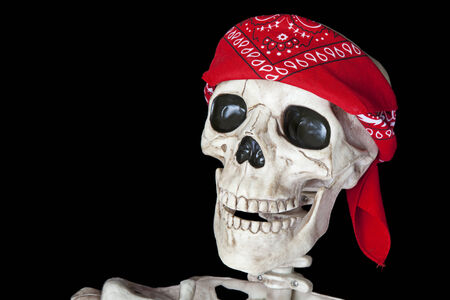 red bandana: Portrait of a biker skeleton with a red bandana around his head.  Shot on black background. Stock Photo