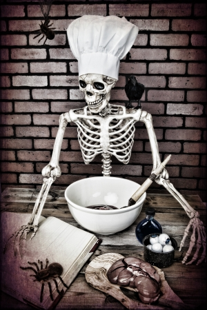 A Skeleton cooking up a frightful meal.  Textured. photo