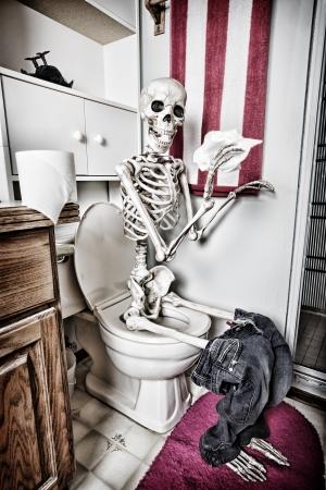 해골은 화장실에서 서류를 처리. 까마귀는 연기에서 사망했다. HDR.