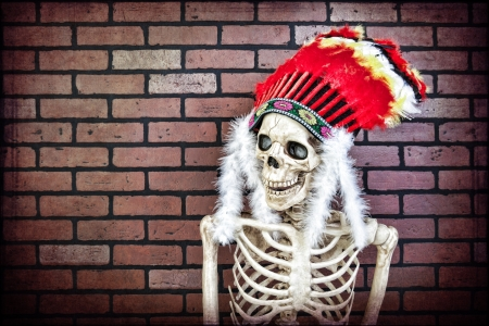 cree: Skeleton wearing a Native American headdress. Hdr and textured.