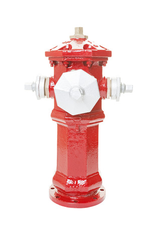 restored: A newly painted and restored circa 1957 fire hydrant.  Isolated on white background