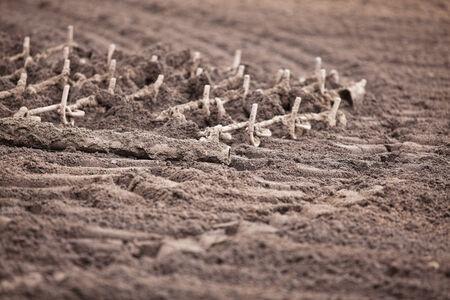 A closeup view of harrows being dragged through a field.