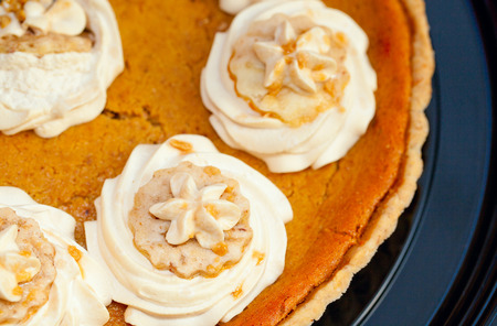 and tradition: Macro shot of a Pumpkin Pie.  A Thanksgiving tradition. Stock Photo
