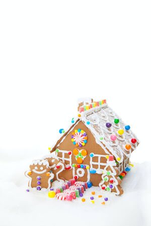 A traditional Christmas treat, gingerbread houses with gingerbread people. photo