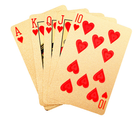 texas hold em: Playing cards brushed in 24 carat gold.  Royal flush.  With clipping path.