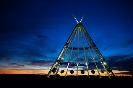 The worlds largest teepee is located in Medicine Hat, Alberta, Canada.   Originally constructed for the Calgary 1988 Winter Olympics, the Saamis Tepee is a tribute to Canada's native heritage. Stock Photo