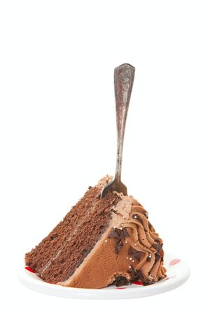 A slice of chocolate layer cake served on a plate with an antique fork in the middle.  Ready for eating.  Shot on white background. Imagens