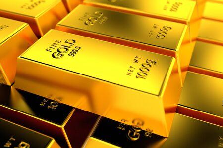 lingotes de oro: Una pila de lingotes de oro.