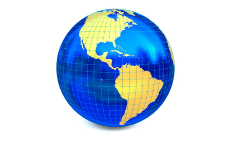 Metal blue globe focuses to America continent with latitude and longitude.