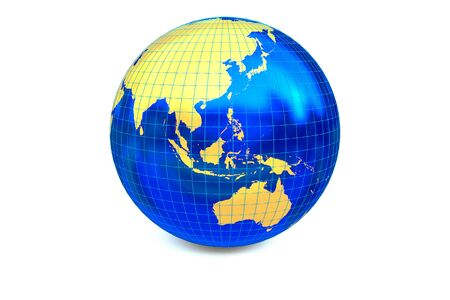 focuses: Blue metal globe focuses to Asia-Pacific zone with latitude and longitude. Stock Photo