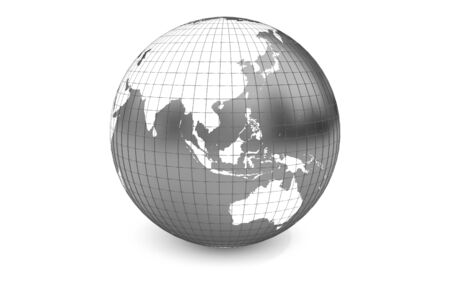 focuses: Grey-scaled globe focuses to Asia-Pacific zone with latitude and longitude. Stock Photo