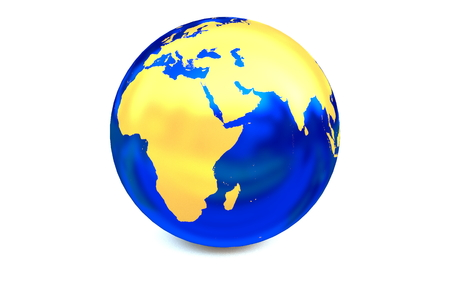 focuses: Blue metal globe focuses to Africa and the middle-east area.