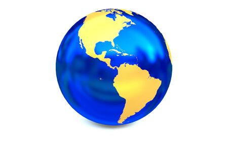 focuses: Metal blue globe focuses to America continent.