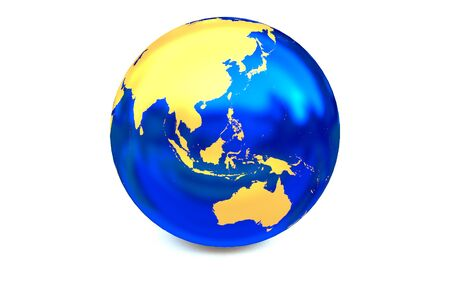 focuses: Metal blue globe focuses to Asia-Pacific zone.