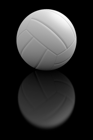 volleyball: Volleyball with the reflection shadow in the black background. Stock Photo