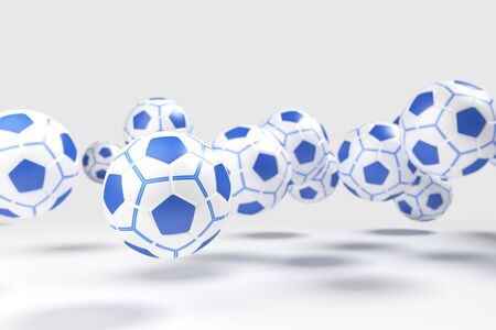 levitation: Levitation of the soccer ball football isolated in the light-grey background. Stock Photo
