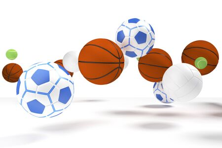 levitation: Levitation of many kinds of the balls used in many kinds of sport. Stock Photo