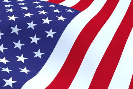 flicking: 3D illustration of a flicking American flag.