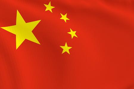 flicking: 3D illustration of a flicking flag of China.
