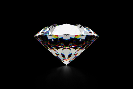 3D rendering image for a piece of diamond in the black background made for easy to cut and paste in your graphics work.