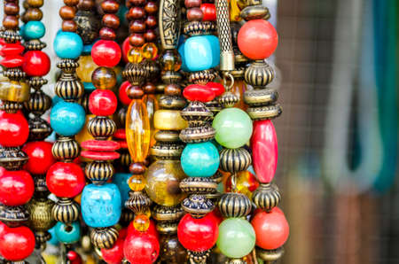 bead jewelry: colorful bead necklaces in store Stock Photo