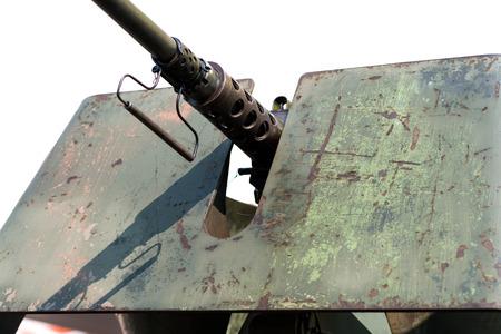 tanque de guerra: Cierre de la pistola de un tanque de guerra Foto de archivo