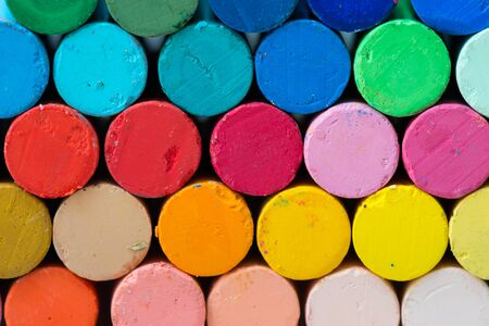 oil pastels: Multi colored stack of oil pastels