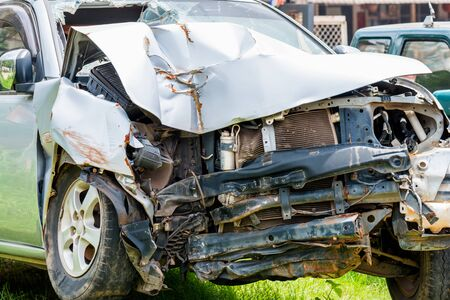 front end: Front end of a vehicle after a car accident