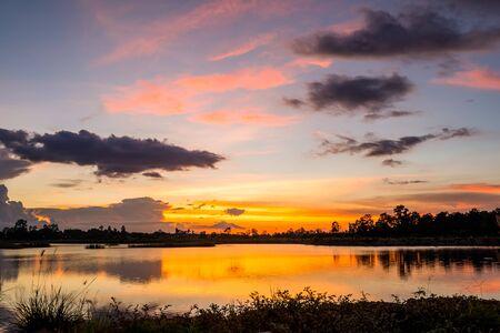 lake sunset: Beautiful colorful sky at sunset on the lake