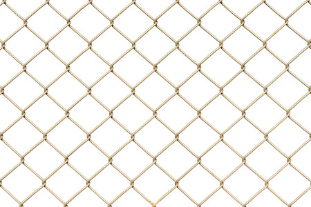 Close-up of metal wire fence on a white background, isolated