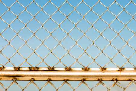 metal wire: Close-up of metal wire fence on a blue sky background