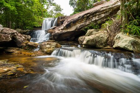 Landscape of peaceful waterfall in the tropical rainforest, thailand