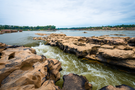 Amazing of rocks, Natural of rock canyon in mekhong river in summer, Three thousand hole, Ubon Ratchathani province, North east Thailand
