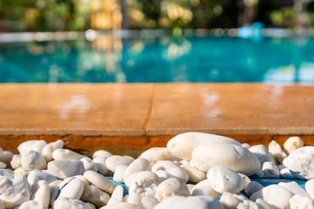 inground: Outdoor inground residential swimming pool in backyard Stock Photo