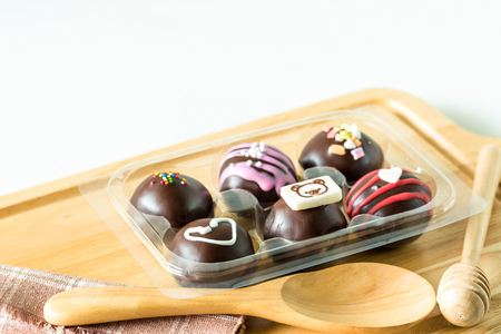 Chocolat ball is delicious food on wooden background