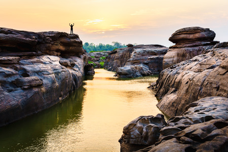 Amazing of rocks, Natural of rock canyon in mekong river in summer, Hat Chom Dao, Ubon Ratchathani province, North east Thailand