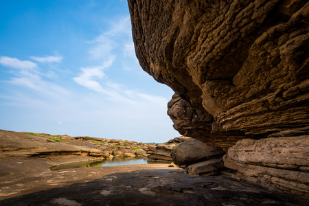 Amazing of rocks, Natural of rock canyon in mekhong river in summer, Hat Chom Dao, Ubon Ratchathani province, North east Thailand Stock Photo