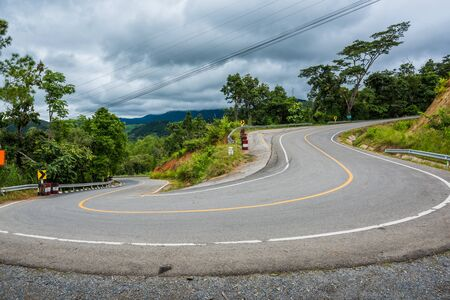 Mountain road in the rainy season, the beautiful nature for Travel concept