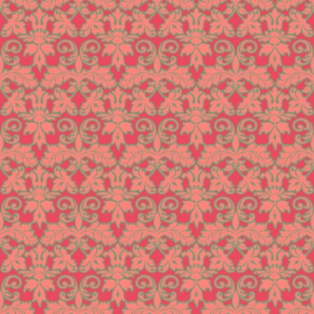 Seamless Pink & Green Damask Background Wallpaper