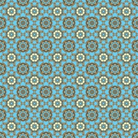 Seamless Retro Aqua & Brown Kaleidoscope Mandala Background Wallpaper 写真素材
