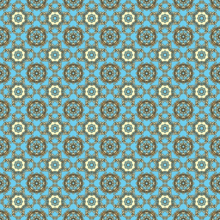 Seamless Retro Aqua & Brown Kaleidoscope Mandala Background Wallpaper Stock Photo