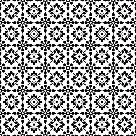 Seamless Black & White Floral Background Wallpaper